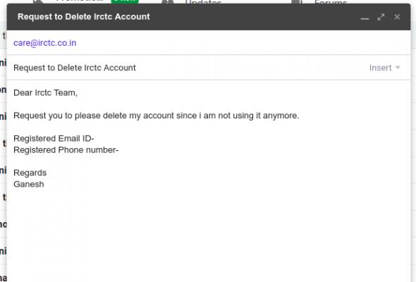 delete irctc account