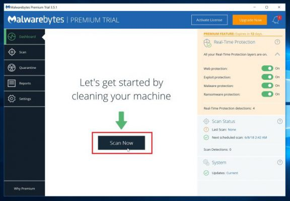 Start a scan with Malwarebytes
