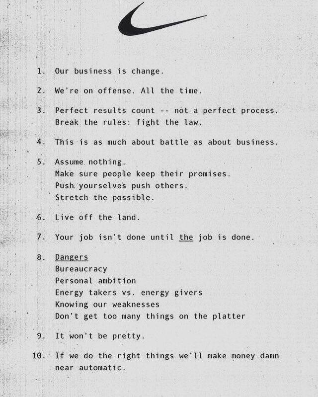 Nike's Original Business Principles