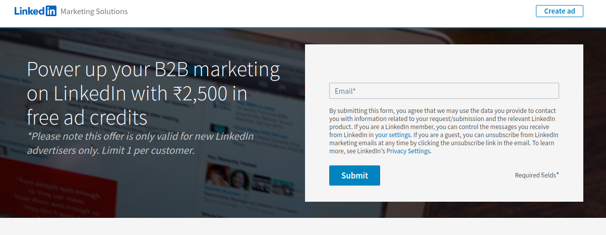 How to get a free 50$ LinkedIn Ad credit