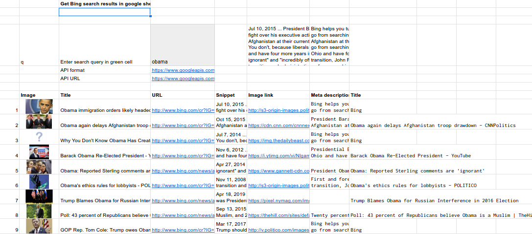How to scrape Bing search results into Google sheets.