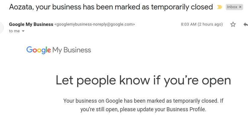 """Your business has been marked as temporarily closed"" - How to mark your Google my Business as open? 2"