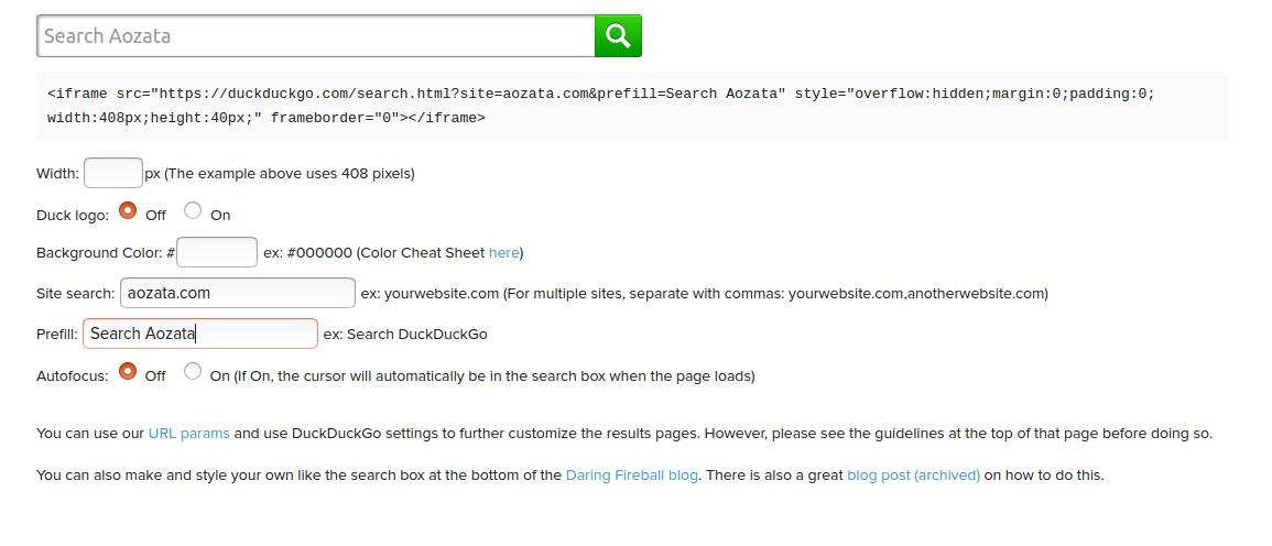 duckduckgo custom search box