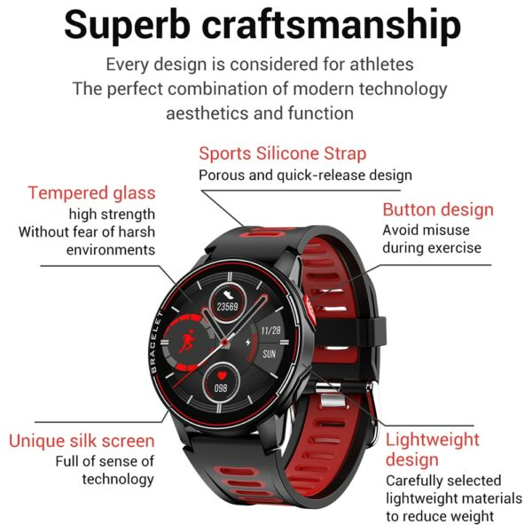 2020 New L6 Smart Watch IP68 Waterproof Sport Men Women Bluetooth Smartwatch Fitness Tracker Heart Rate Monitor For Android IOS 6