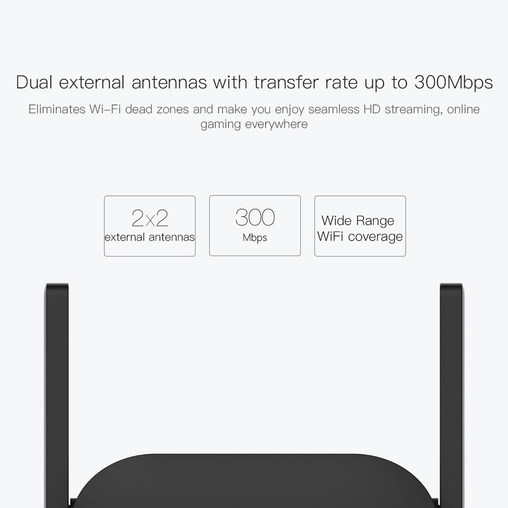 Original Xiaomi WiFi Amplifier Pro 300Mbps WiFi Repeater Mijia Wifi Signal 2.4G Extender Roteador 2 Mi Wireless Router mi router 6
