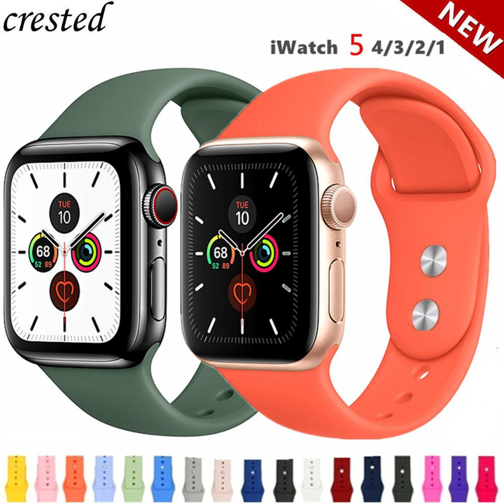 Silicone Strap For Apple Watch band 44 mm/40mm iWatch Band 38mm 42mm 44mm Sport watchband bracelet apple watch series 5 4 3 2 1 1