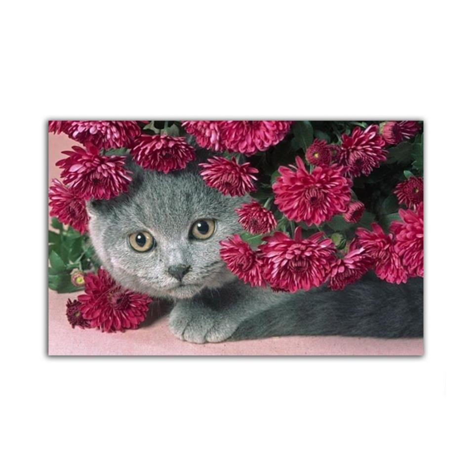 Scottish Fold Cat In Carnations Painting 2