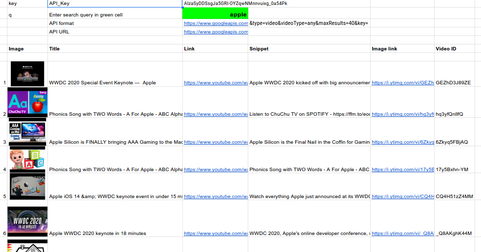 Scrape Youtube search results in Google Sheets 1