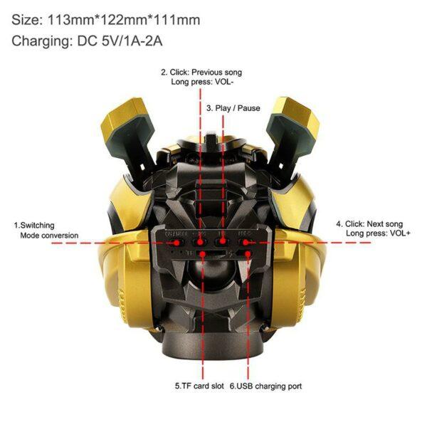 Kuulee Bumblebee Helmet Bluetooth Speaker Fm Radio Usb Mp3 TF Smart Subwoofer Bluetooth 5.0 Mini Wireless Stereo Loudspeakers 2