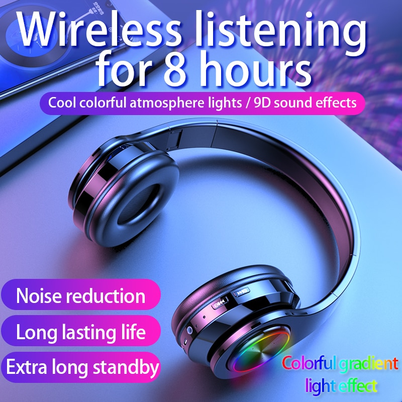Wireless Headphones Bluetooth Earphone 5.0 Deep Bass Stereo Noise Reduction Gaming Headsets For Mobile 1