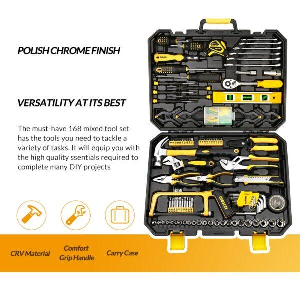 DEKO Hand Tool Set General Household Repair Hand Tool Kit with Plastic Toolbox Storage Case Socket Wrench Screwdriver Knife 2