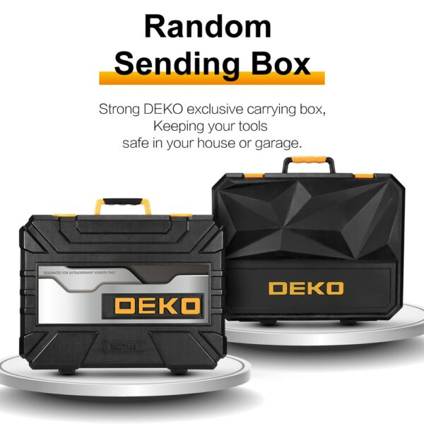 DEKO Hand Tool Set General Household Repair Hand Tool Kit with Plastic Toolbox Storage Case Socket Wrench Screwdriver Knife 5